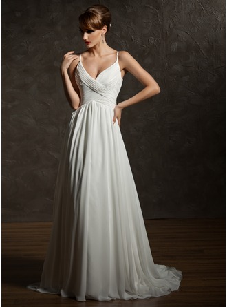 A-Line/Princess V-neck Court Train Chiffon Wedding Dress With Ruffle