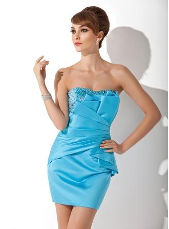 Sheath/Column Sweetheart Short/Mini Satin Cocktail Dress With Ruffle Beading