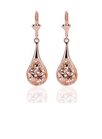 Belle Plaqué or rose Alliage d'étain Dames Boucles d'oreille de mode