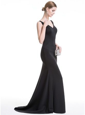 Trumpet/Mermaid V-neck Sweep Train Evening Dress With Sequins