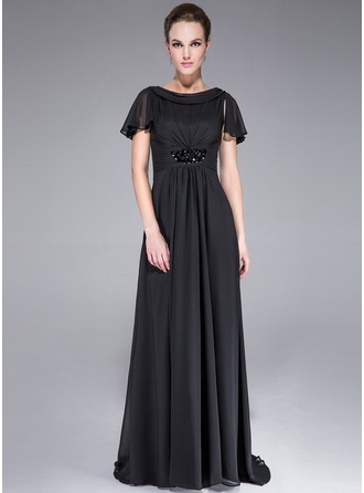 A-Line/Princess Scoop Neck Sweep Train Chiffon Lace Evening Dress With Ruffle Beading Cascading Ruffles
