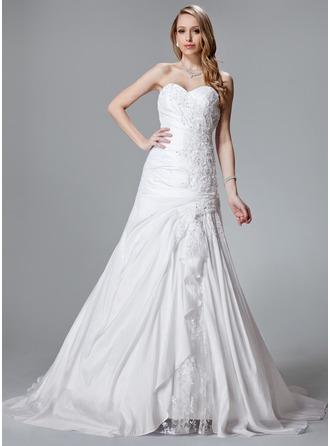 A-Line/Princess Sweetheart Court Train Taffeta Lace Wedding Dress With Beading Cascading Ruffles