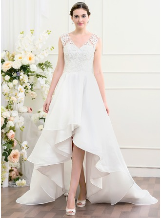 A-Line/Princess V-neck Asymmetrical Organza Wedding Dress With Beading Sequins