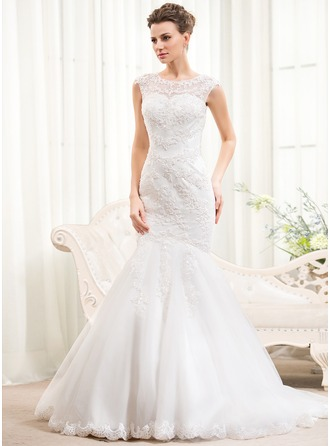 Trumpet/Mermaid Scoop Neck Sweep Train Tulle Lace Wedding Dress With Beading Sequins