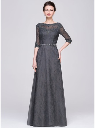 A-Line/Princess Scoop Neck Floor-Length Tulle Lace Mother of the Bride Dress With Beading Sequins