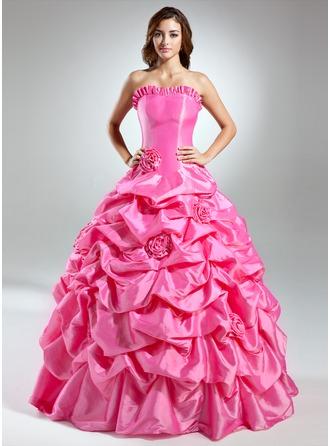 Corte de baile Estrapless Hasta el suelo Tafetán Vestido de quinceañera con Volantes Flores