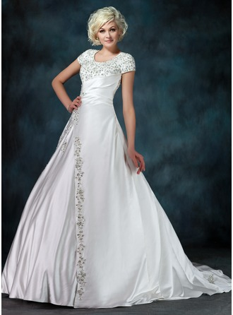 Ball-Gown Scoop Neck Court Train Satin Wedding Dress With Ruffle Beading Sequins