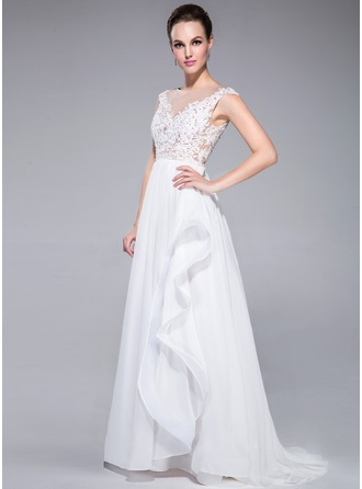A-Line/Princess Scoop Neck Sweep Train Chiffon Tulle Evening Dress With Lace Beading Sequins Cascading Ruffles