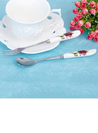 Belle Rose Acier inoxydable Ensemble de cuillière et fourchette