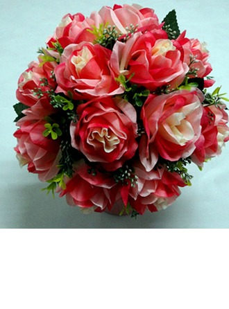 Bright Red Round Satin Bridal Bouquets