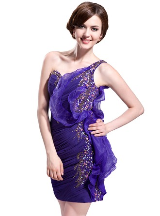 Sheath/Column One-Shoulder Short/Mini Chiffon Organza Cocktail Dress With Beading Sequins Cascading Ruffles