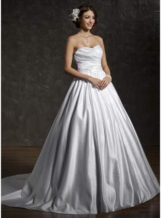 Ball-Gown Sweetheart Chapel Train Satin Wedding Dress With Ruffle Beading Bow(s)