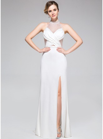 Trumpet/Mermaid High Neck Sweep Train Tulle Jersey Evening Dress With Ruffle Beading Split Front