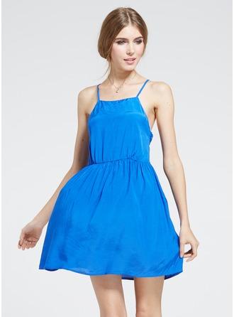 ポリエステル/コットン とともに 縫い ミニ ドレス