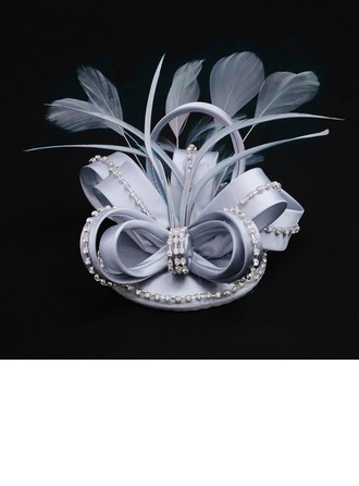 Dames Mode Tissu avec Feather/Strass Disquettes Chapeau