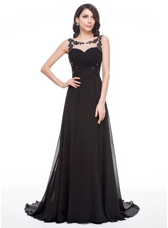 A-Line/Princess Scoop Neck Court Train Chiffon Tulle Prom Dress With Ruffle Beading Appliques Lace Sequins