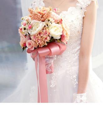 Délicat Attaché à la main Soie artificielle Bouquets de mariée -