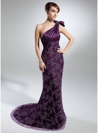 Trumpet/Mermaid One-Shoulder Court Train Charmeuse Lace Mother of the Bride Dress With Ruffle Beading Bow(s)