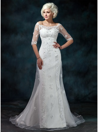 Trumpet/Mermaid Off-the-Shoulder Court Train Satin Organza Wedding Dress With Beading Appliques Lace