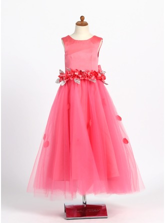 A-Line/Princess Scoop Neck Ankle-Length Tulle Flower Girl Dress With Beading Flower(s) Bow(s)