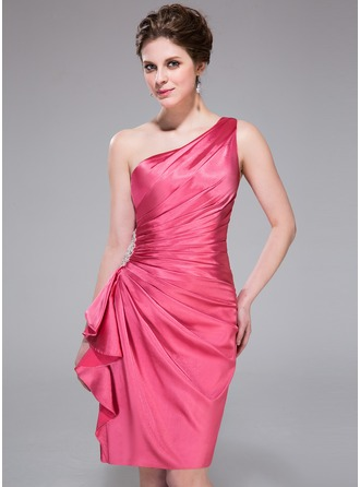 Sheath/Column One-Shoulder Knee-Length Charmeuse Cocktail Dress With Beading Cascading Ruffles