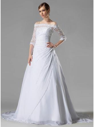 Corte A/Princesa Hombros caídos Cola capilla Chifón Encaje Vestido de novia con Volantes Bordado Lentejuelas