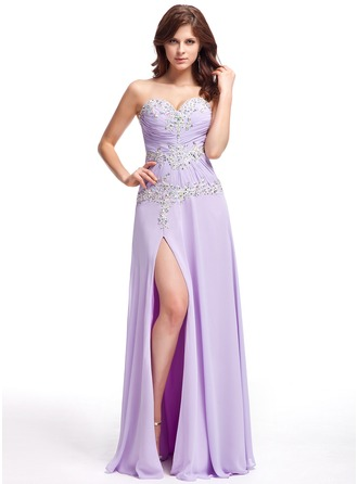 A-Line/Princess Sweetheart Floor-Length Chiffon Evening Dress With Ruffle Beading Appliques Lace Split Front