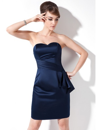 Sheath/Column Sweetheart Knee-Length Satin Cocktail Dress With Cascading Ruffles