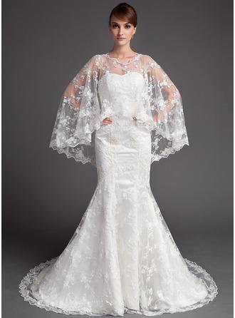 Trumpet/Mermaid Sweetheart Chapel Train Satin Lace Wedding Dress