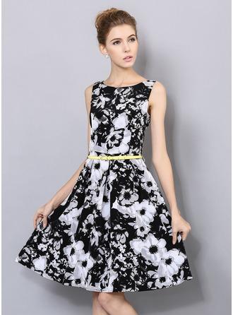 Polyester mit Drucken Knielänge Kleid