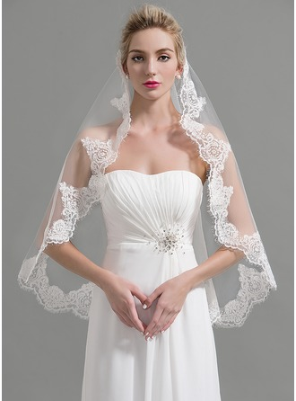 One-tier Lace Applique Edge Fingertip Bridal Veils With Applique