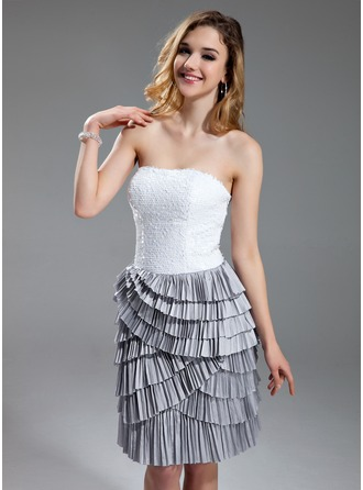 Sheath/Column Sweetheart Knee-Length Taffeta Sequined Cocktail Dress With Cascading Ruffles Pleated