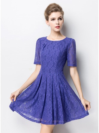 Polyester/Cotton/Lace With Stitching Above Knee Dress