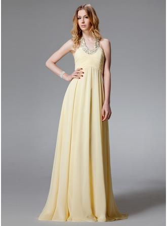A-Line/Princess Halter Floor-Length Chiffon Evening Dress With Ruffle Beading
