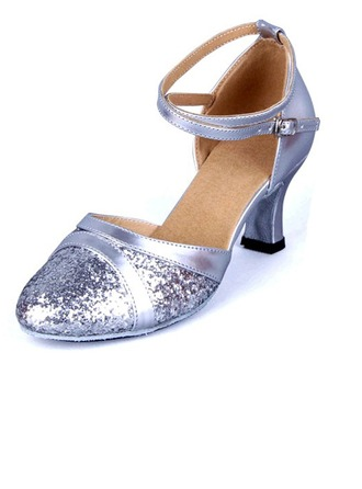 Women's Leatherette Sparkling Glitter Sandals Latin With Hollow-out Dance Shoes
