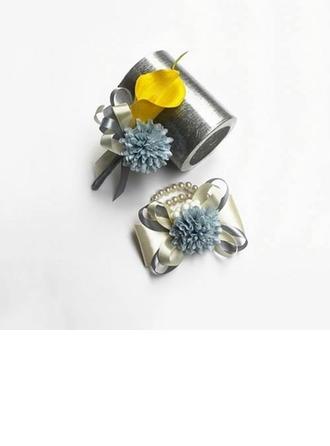 Simple Soie artificielle/Perle d'imitation Sets de fleurs ( ensemble de 2) - Corsage du poignet/Boutonnière