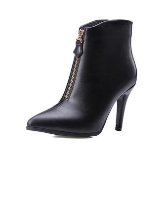 Femmes Similicuir Talon stiletto Escarpins Bout fermé Bottines avec Zip chaussures