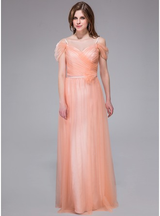 A-Line/Princess V-neck Floor-Length Tulle Holiday Dress With Ruffle Flower(s)