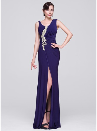 Sheath/Column V-neck Floor-Length Jersey Evening Dress With Ruffle Beading Appliques Lace Split Front
