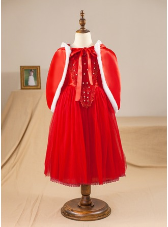 A-Line/Princess Tea-length Pageant Dresses - Satin/Tulle Short Sleeves Scoop Neck With Beading/Flower(s) (Wrap included)