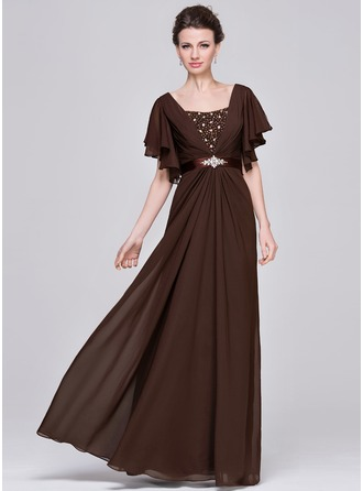 A-Line/Princess Sweetheart Floor-Length Chiffon Charmeuse Mother of the Bride Dress With Ruffle Beading Sequins