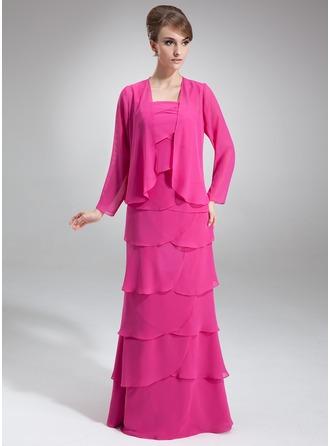 A-Line/Princess Square Neckline Floor-Length Chiffon Mother of the Bride Dress With Cascading Ruffles