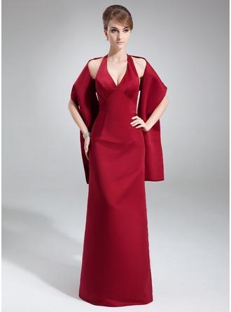 Sheath/Column Halter Floor-Length Satin Bridesmaid Dress