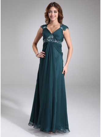 Empire V-neck Floor-Length Chiffon Charmeuse Chiffon Charmeuse Maternity Bridesmaid Dress With Ruffle Lace Beading