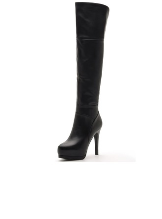 Women's Real Leather Stiletto Heel Knee High Boots With Zipper shoes