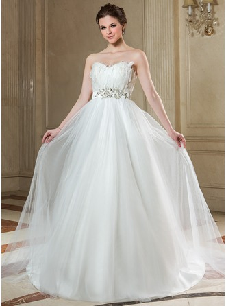 Empire Sweetheart Court Train Tulle Wedding Dress With Beading Feather Appliques Lace Sequins Bow(s)