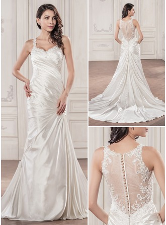 Trumpet/Mermaid Sweetheart Chapel Train Charmeuse Wedding Dress With Ruffle Beading Appliques Lace Sequins