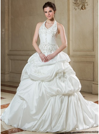 Ball-Gown Halter Chapel Train Taffeta Wedding Dress With Embroidered Ruffle Beading Sequins
