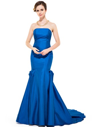 Trumpet/Mermaid Strapless Sweep Train Taffeta Evening Dress With Ruffle