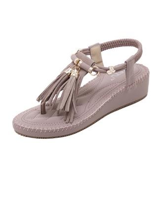 Femmes Suède Talon bas Sandales Plateforme À bout ouvert Escarpins avec Tassel chaussures